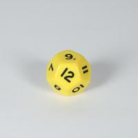 Opaque Yellow D12 Dice