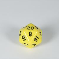 Opaque Yellow D20 Dice