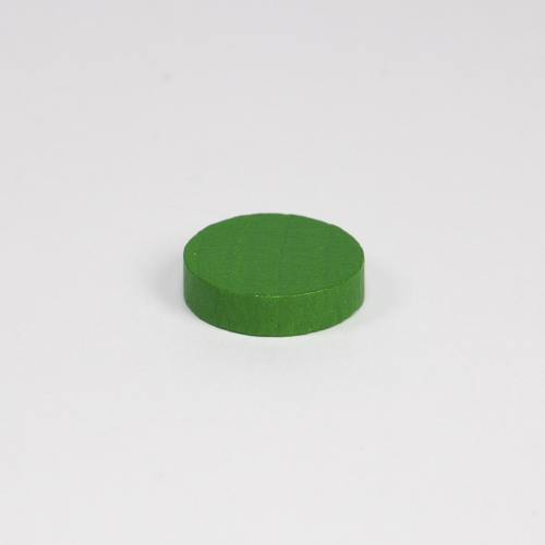 Wooden game counter, in green