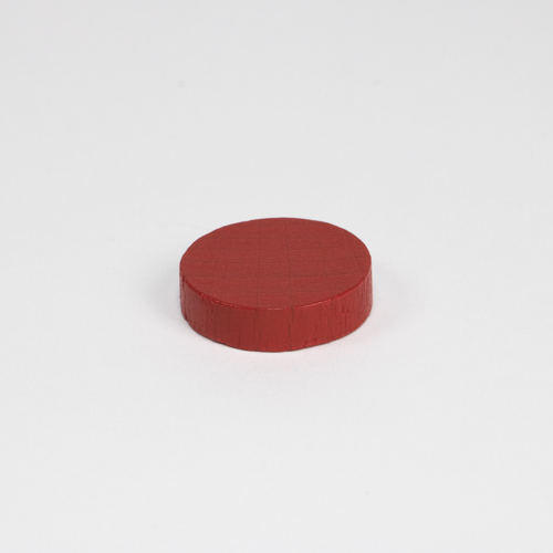 Wooden game counter, in red