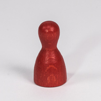 Wooden game pawn, in red