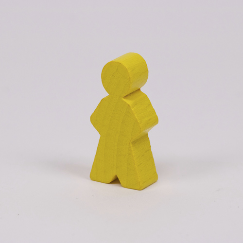 Wooden game person, in yellow