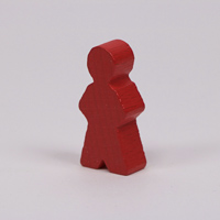 Wooden game person, in red