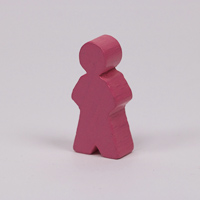 Wooden game person, in pink
