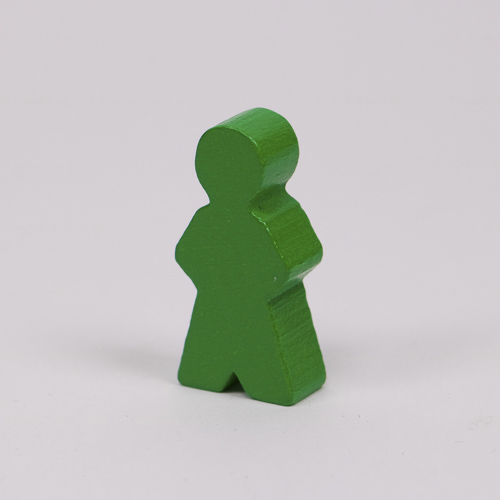 Wooden game person, in green