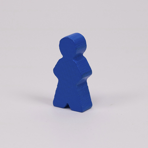 Wooden game person, in blue