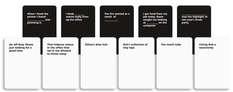 Black and white cards custom card games