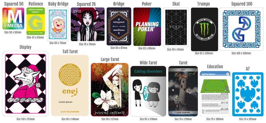 A variety of card sizes